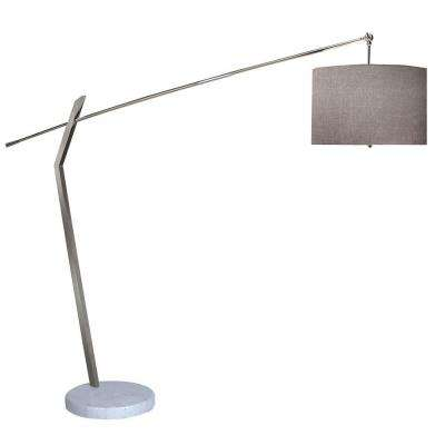 Chelsea 83.25 in. 2-Light Polished Chrome Arc Floor Lamp With Latte Linen Shade