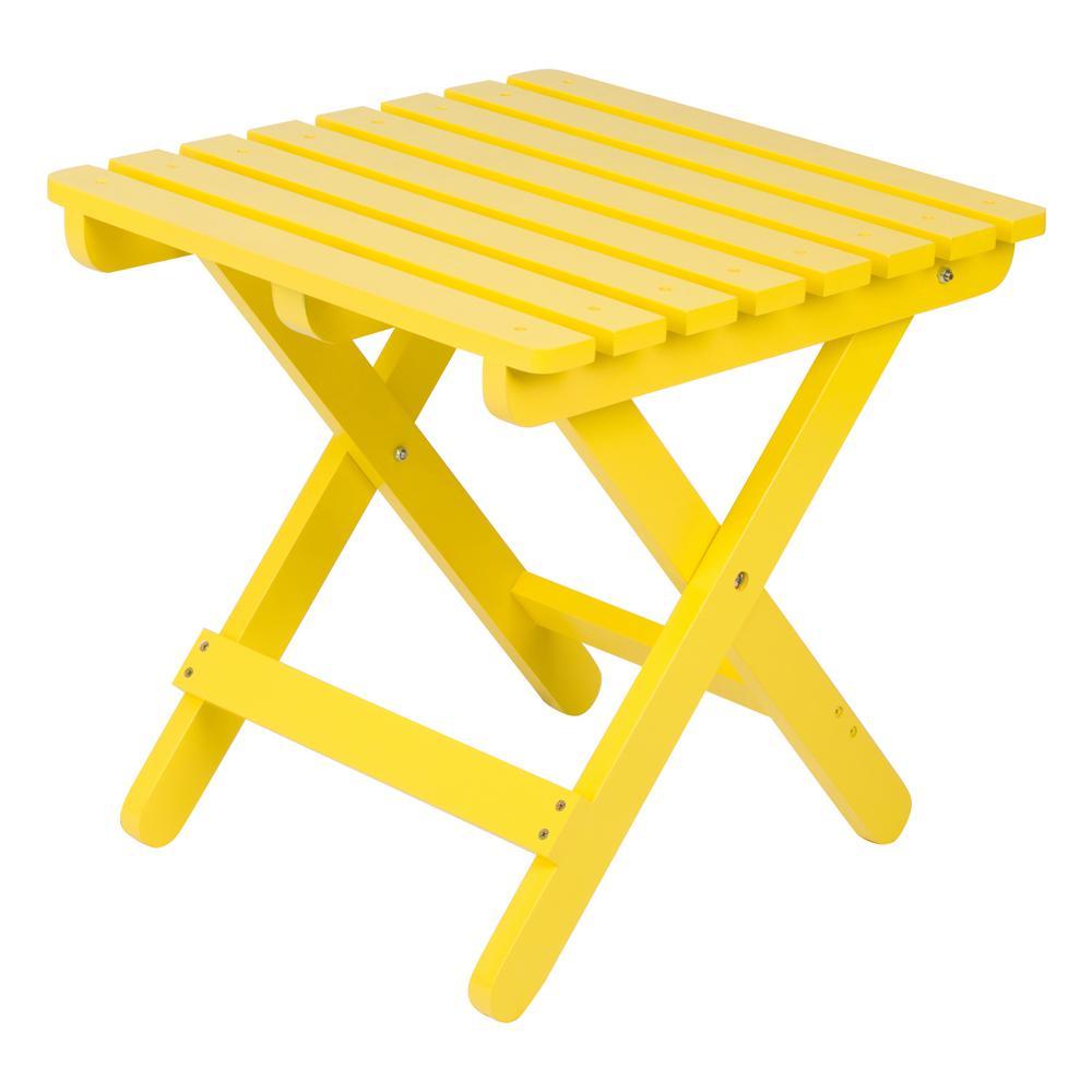 Adirondack Lemon Yellow Square Wood Folding Table