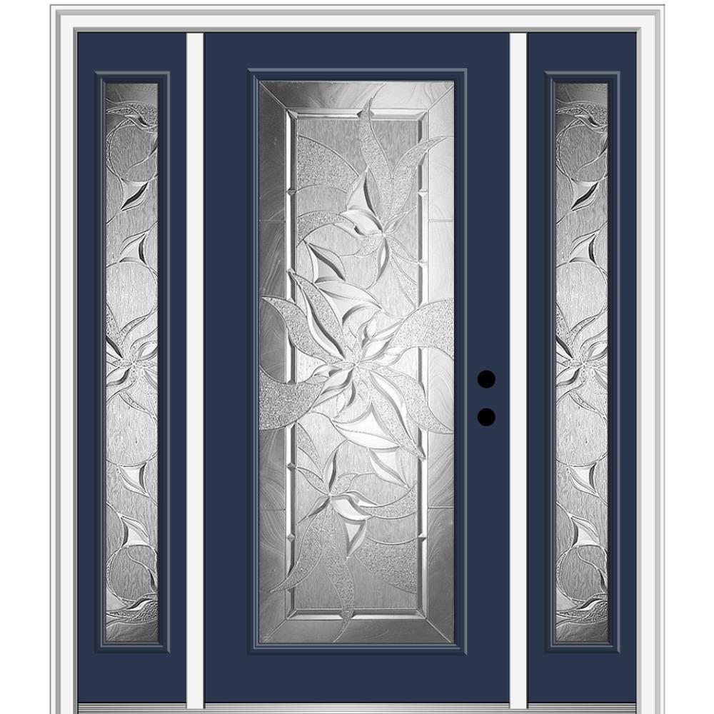 MMI Door 64.5 in. x 81.75 in. Impressions Left-Hand Full-Lite Decorative Painted Fiberglass Prehung Front Door with Sidelites