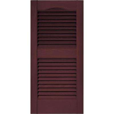 15 in. x 31 in. Louvered Vinyl Exterior Shutters Pair in #167 Bordeaux