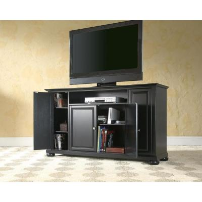 Alexandria 48 in. Black Wood TV Stand Fits TVs Up to 60 in. with Storage Doors