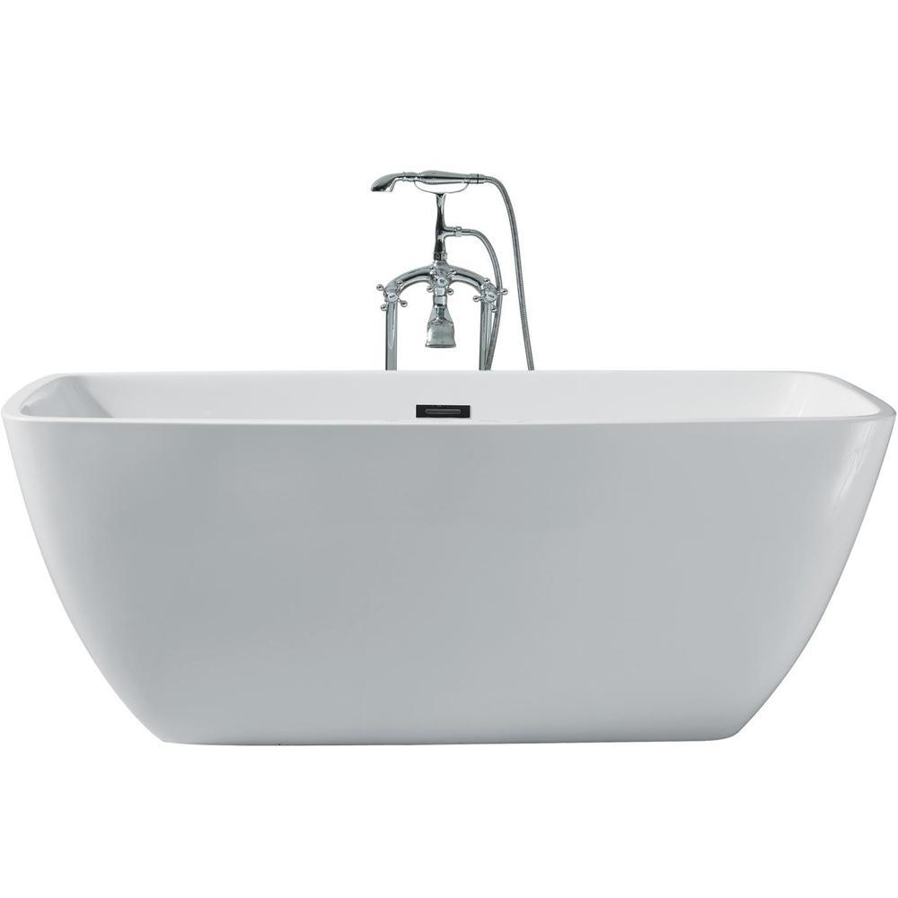 63 in. Acrylic Center Drain Rectangle Flat Bottom Freestanding Bathtub in White