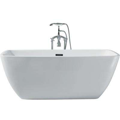 Superieur Acrylic Center Drain Rectangle Flat Bottom Freestanding Bathtub In White