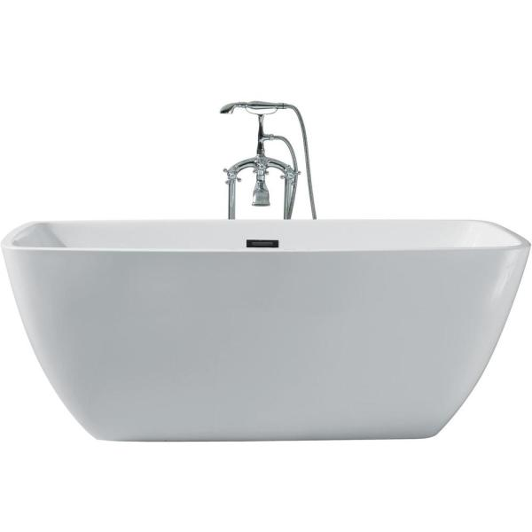 63 in. Acrylic Center Drain Rectangle Flat Bottom Freestanding Bathtub in White