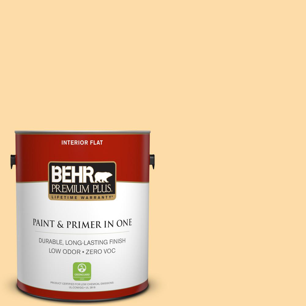 1 gal. #300A-3 Melted Butter Flat Zero VOC Interior Paint and