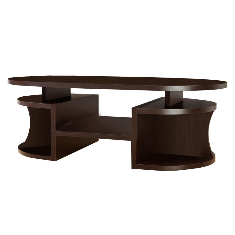 Furniture Of America Alfred Walnut Oval Coffee Table