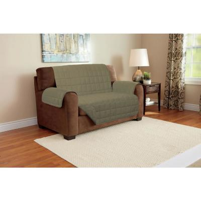 Tan Suede Relaxed Fit Love Seat Furniture Protector (1-Piece)