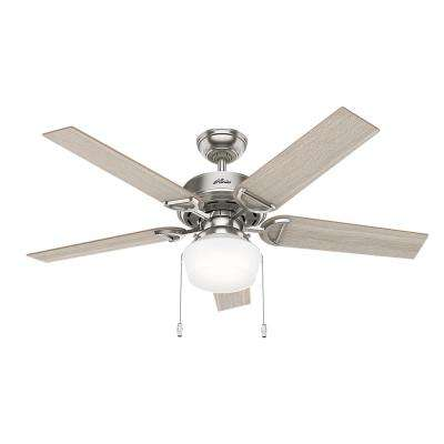 Viola 52 in. LED Indoor Brushed Nickel Ceiling Fan with Light Kit