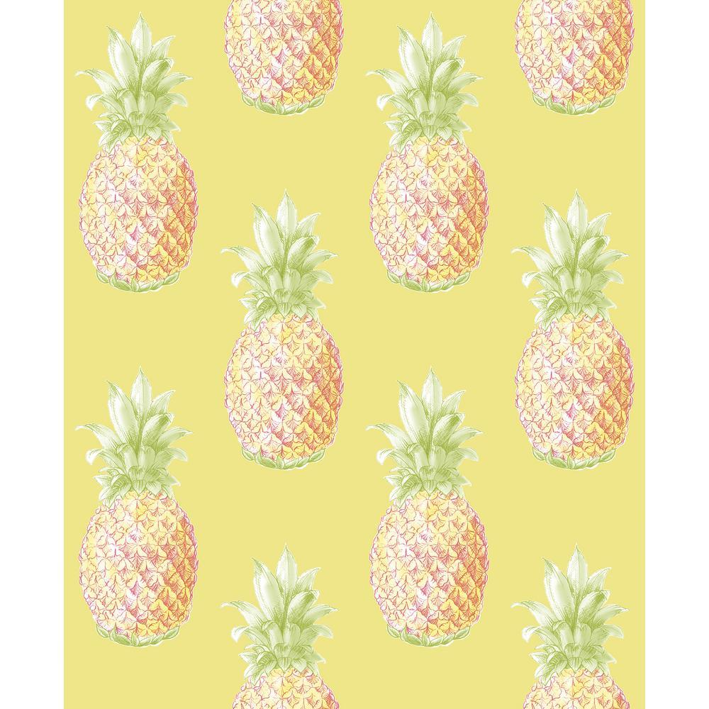 Pineapple wallpaper wallpaper images for Yellow wallpaper home depot