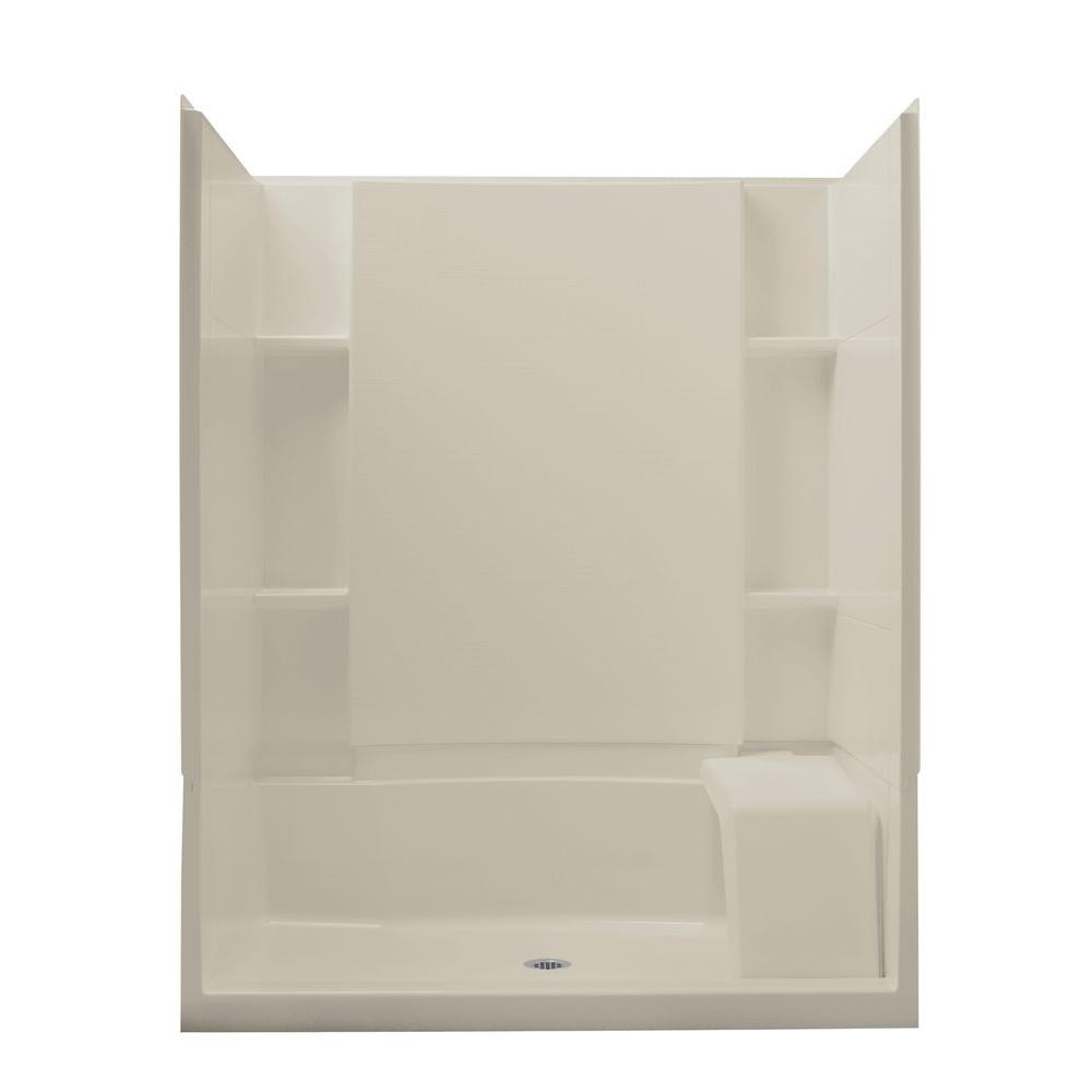 STERLING Accord Seated 36 in. x 60 in. x 74-1/2 in. Shower Kit in Biscuit