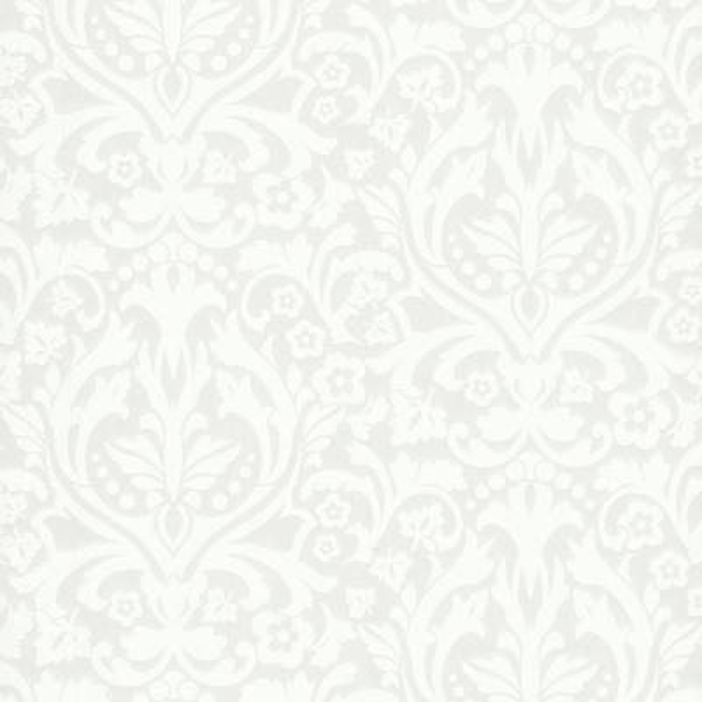56.4 sq. ft. Petal Silver Flocked Damask Wallpaper