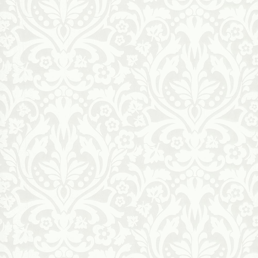 8 in. x 10 in. Petal Silver Flocked Damask Wallpaper Sample