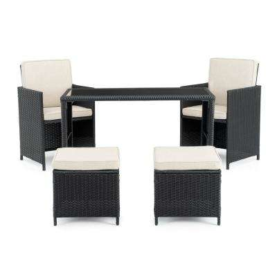 Sloan Black 5-Piece Wicker Outdoor Dining Set with Beige Cushions