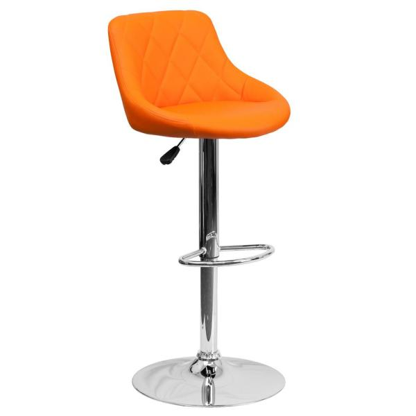 Flash Furniture 32 in. Adjustable Height Orange Cushioned Bar Stool CH82028AORG