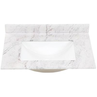 31 in. W x 22 in. D Stone Effect Vanity Top in Lunar with White Sink
