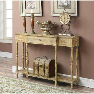 Wyoming Weathered Antique Ivory Console Table