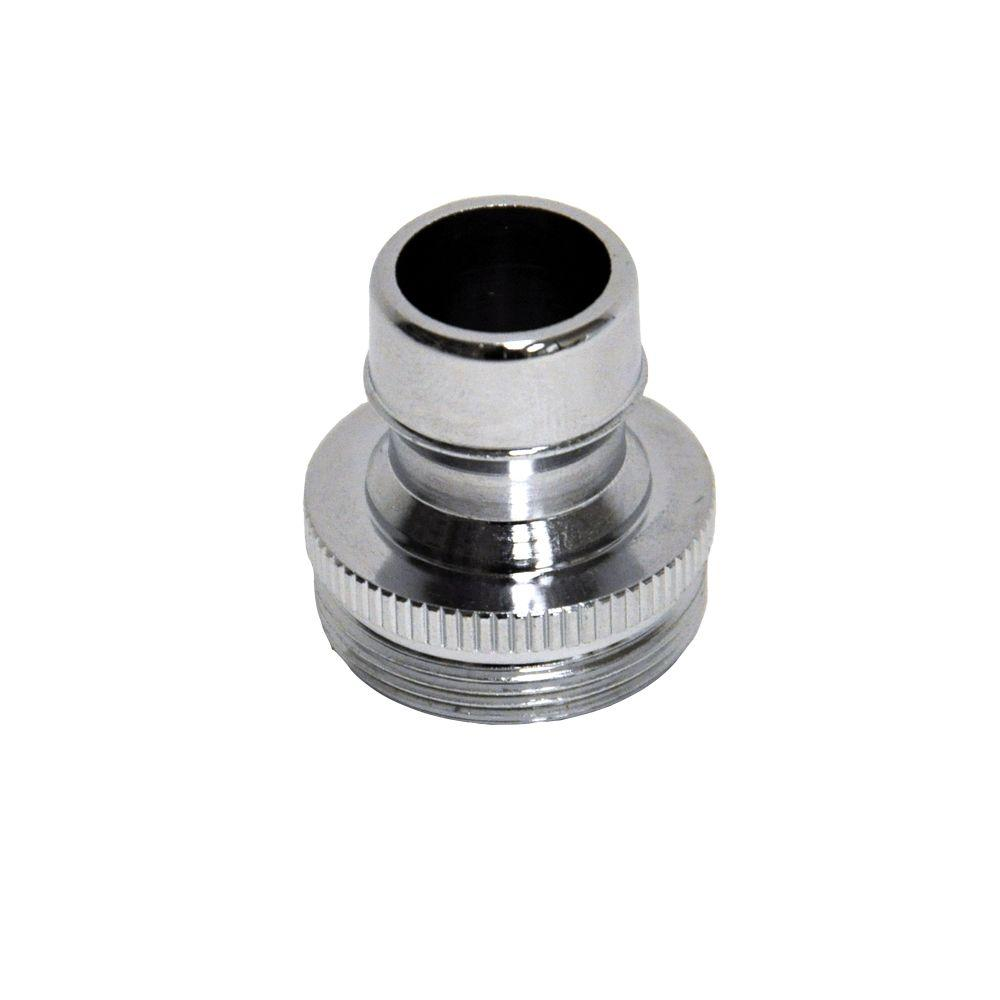 DANCO 15/16 in. to 27M or 55/64 in. 27F Chrome Small Male Dishwasher Aerator Adapter The DANCO Dual Thread small snap fitting aerator adapter connects a portable dishwasher to the sink. This adapter will connect any device with female snap coupling to your sink faucet. It has the full water flow that you need and has an easy connection to a dishwasher.