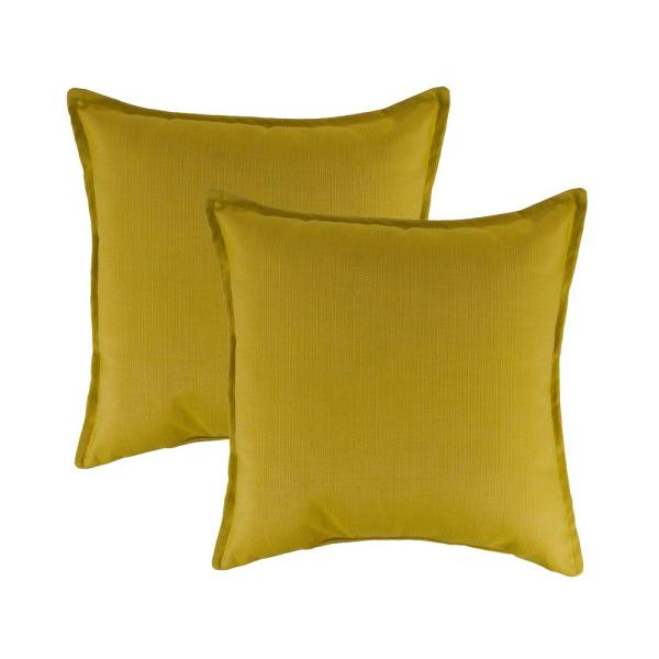 Sunbrella Echo Citron Solid 20 in. x 20 in. Throw Pillow (Set of 2)