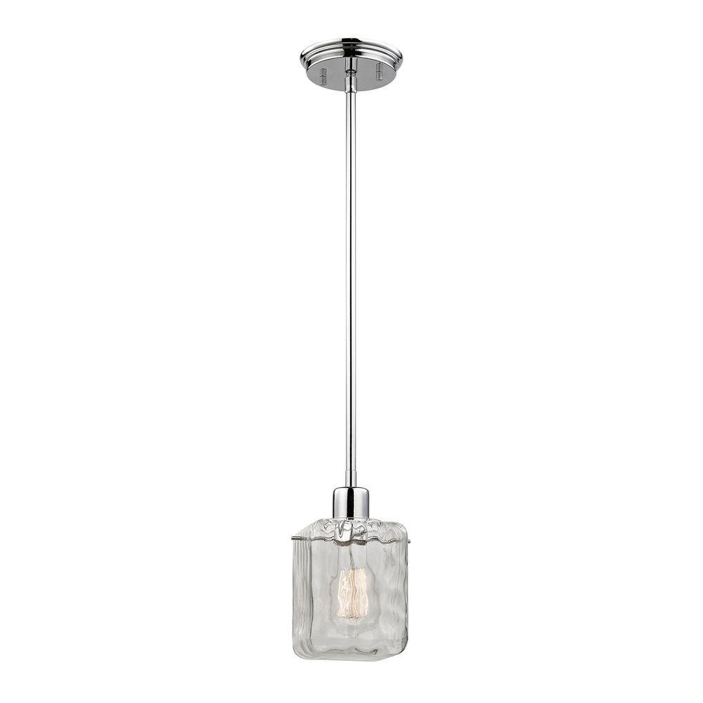 Attrayant Home Decorators Collection 1 Light Polished Chrome Pendant With Water Cube  Glass Shade