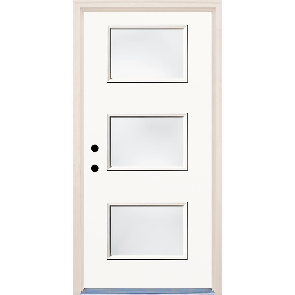 36 in. x 80 in. Classic Right-Hand 3 Lite Clear Glass