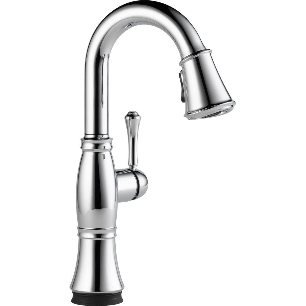 Delta Cassidy Touch Single Handle Pull Down Sprayer Bar Faucet In Chrome 9997t Dst The Home Depot