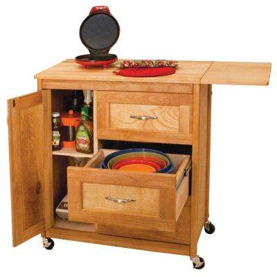Natural Kitchen Cart with Butcher Block Top