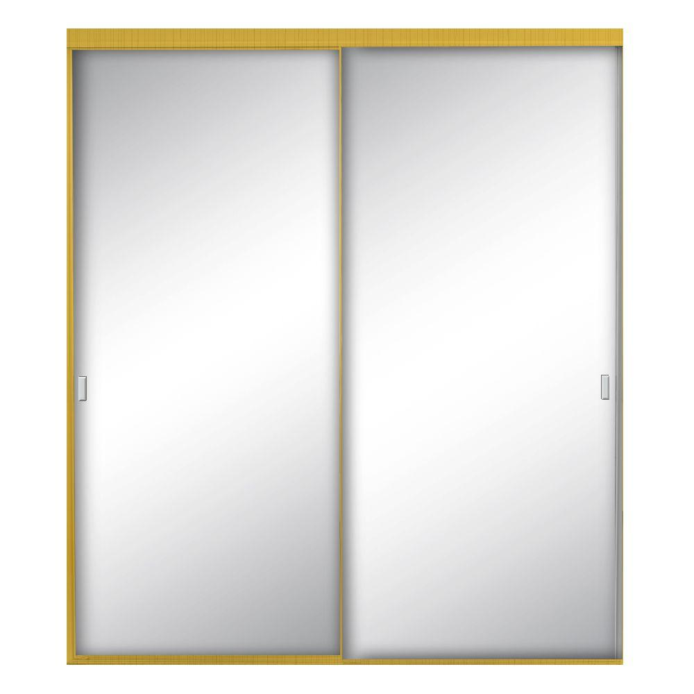Contractors Wardrobe 60 in. x 80-1/2 in. Style-Lite Bright Gold Aluminum Framed Mirror Interior Sliding Door