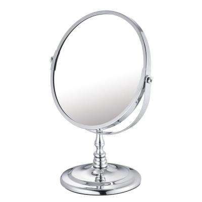 5.875 in. x 9.625 in. Round Chrome-Plated Countertop Bi-View Vanity Mirror in Silver