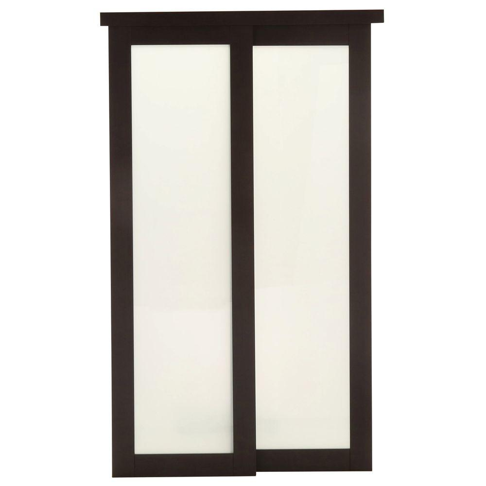 Truporte 60 in x 80 in 2230 series espresso 1 lite composite 2230 series espresso 1 lite composite universal grand sliding door 249272 the home depot planetlyrics Image collections