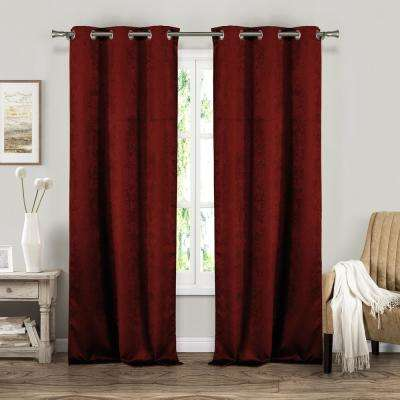 Suzanne 37 in. W x 84 in. L Polyester Window Panel in Garnet