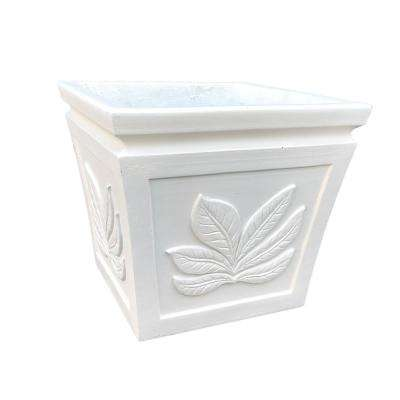 14.17 in. x 14.17 in. x 12.6 in. Light Cream Lightweight Concrete Leaf Embossed Flared Square Seashell Medium Planter