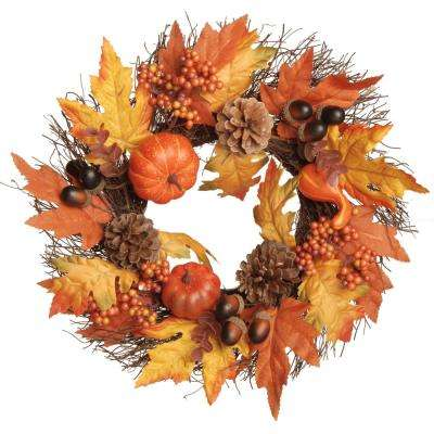 16 in. Pumpkins and Maple Leaves Wreath