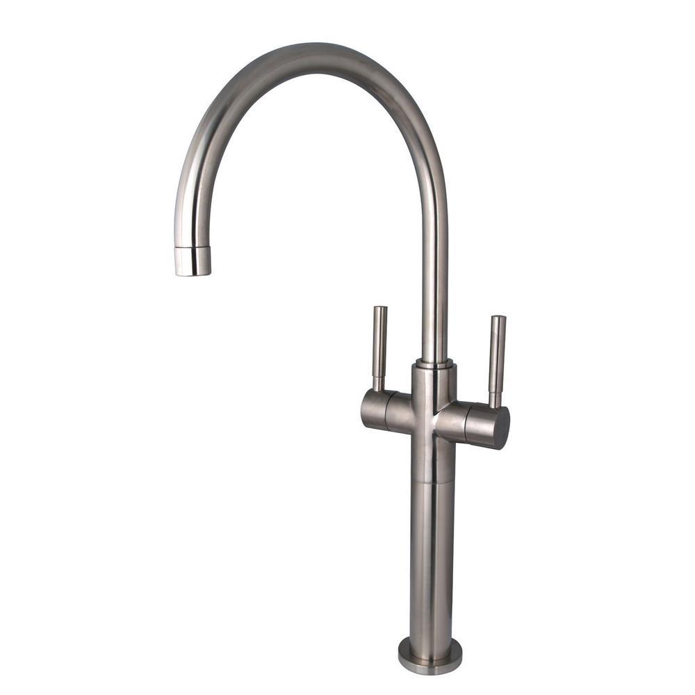 Kingston Brass Abington Single Hole 2 Handle Vessel Bathroom Faucet In Satin Nickel 9301100220