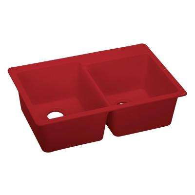 Granitequartz composite red kitchen sinks kitchen the home premium quartz drop in composite 33 in double bowl kitchen sink in maraschino workwithnaturefo
