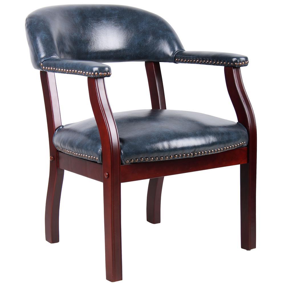 Blue Vinyl Captain's Chair