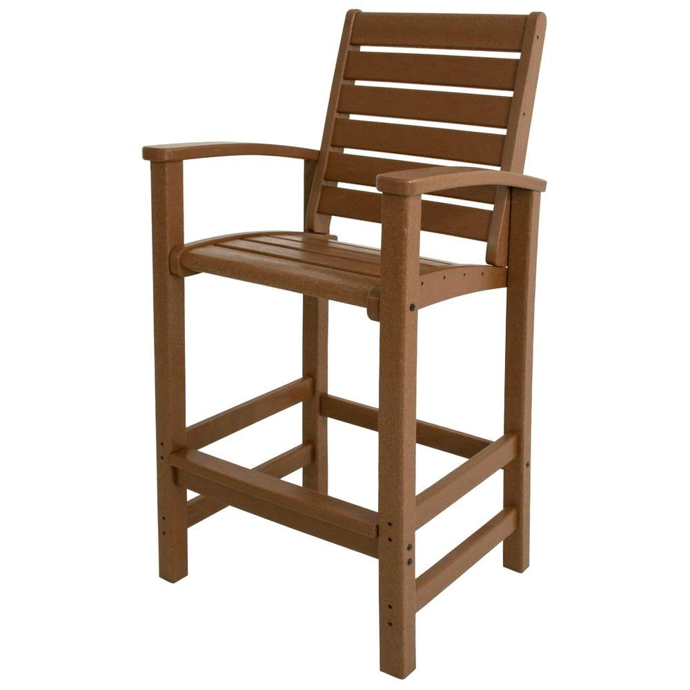 Polywood signature teak patio bar chair 1912 te the home depot Home depot teak patio furniture