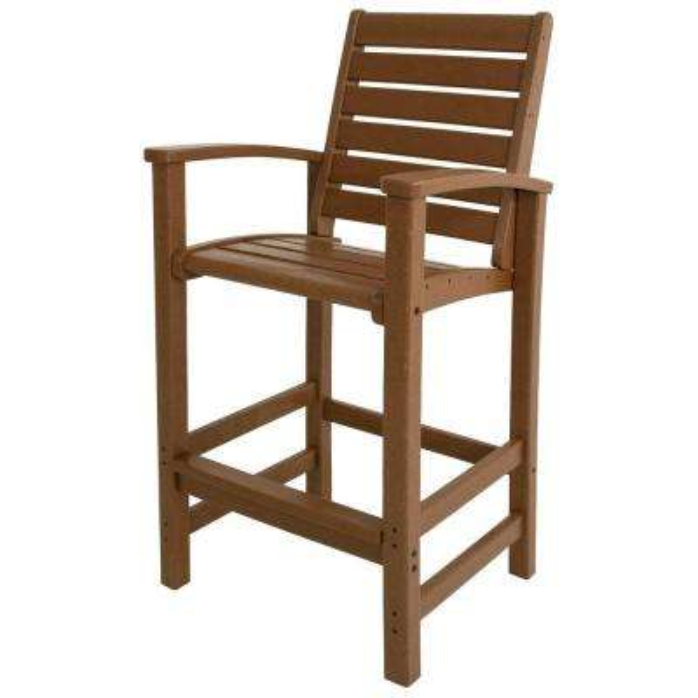 Signature Teak Patio Bar Chair. Teak; Slate Grey; Mahogany; White. POLYWOOD  ...