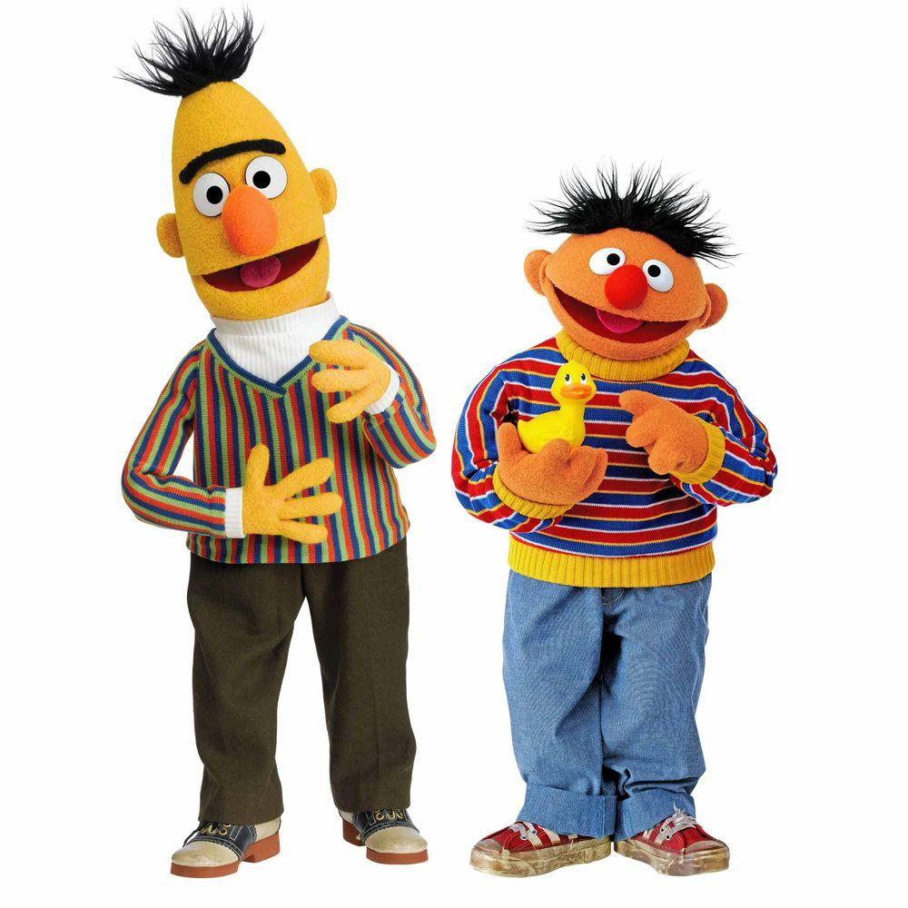 RoomMates 5 in. x 19 in. Sesame Street Burt and Ernie 12-Piece Peel and Stick Giant Wall Decal