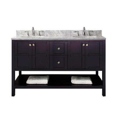 Winterfell 60 in. W Double Bath Vanity in Espresso with Marble Vanity Top and Round Basin with Faucet