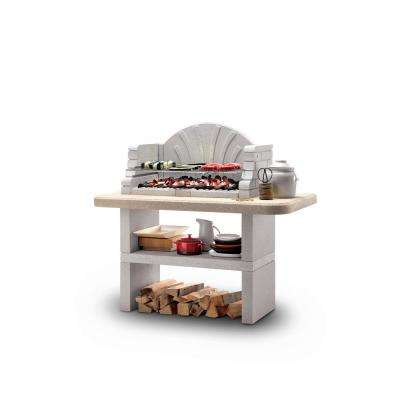 Palazzetti St. Tropez Charcoal or Wood Fire Outdoor Pedestal Grill in Gray Marmotech