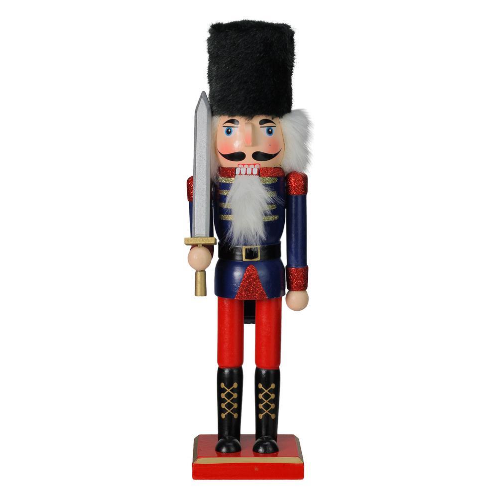 Christmas Nutcracker.Northlight 14 In Blue Red And Gold Wooden Christmas Nutcracker Soldier With Sword