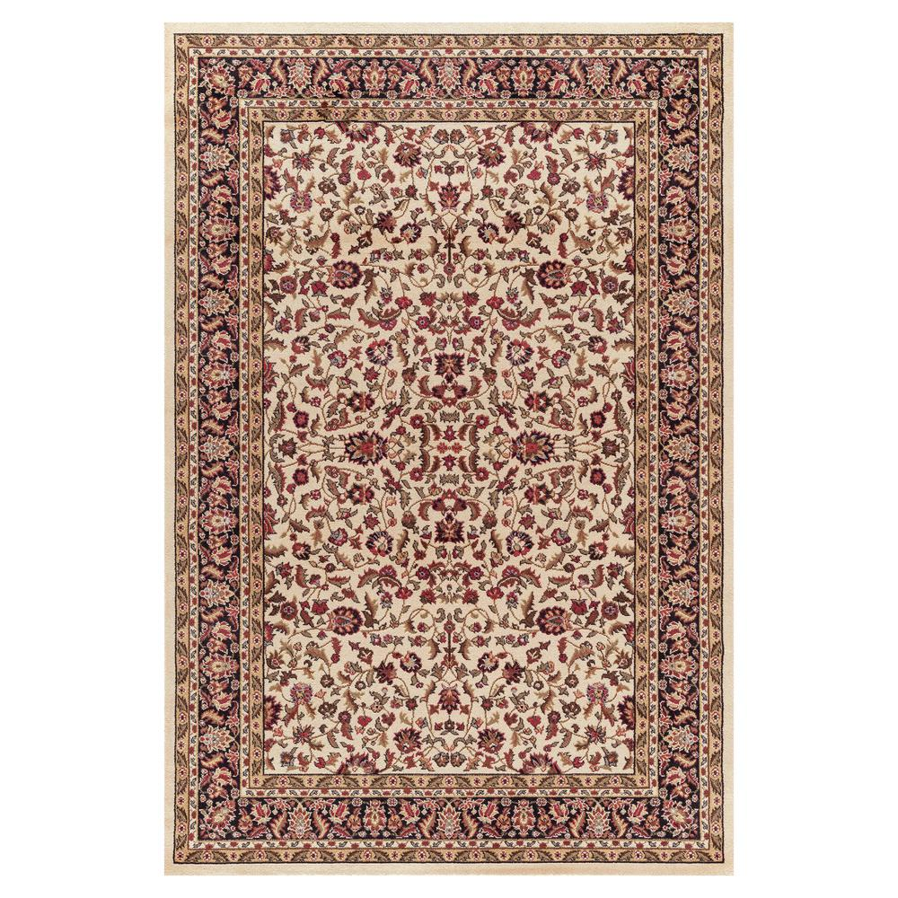 Concord Global Trading Jewel Kashan Ivory/Black 5 ft. 3 in. x 7 ft. 7 in. Area Rug
