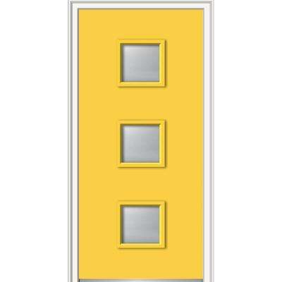 36 in. x 80 in. Aveline Low-E Glass Right-Hand 3-Lite Clear Midcentury Painted Fiberglass Smooth Prehung Front Door