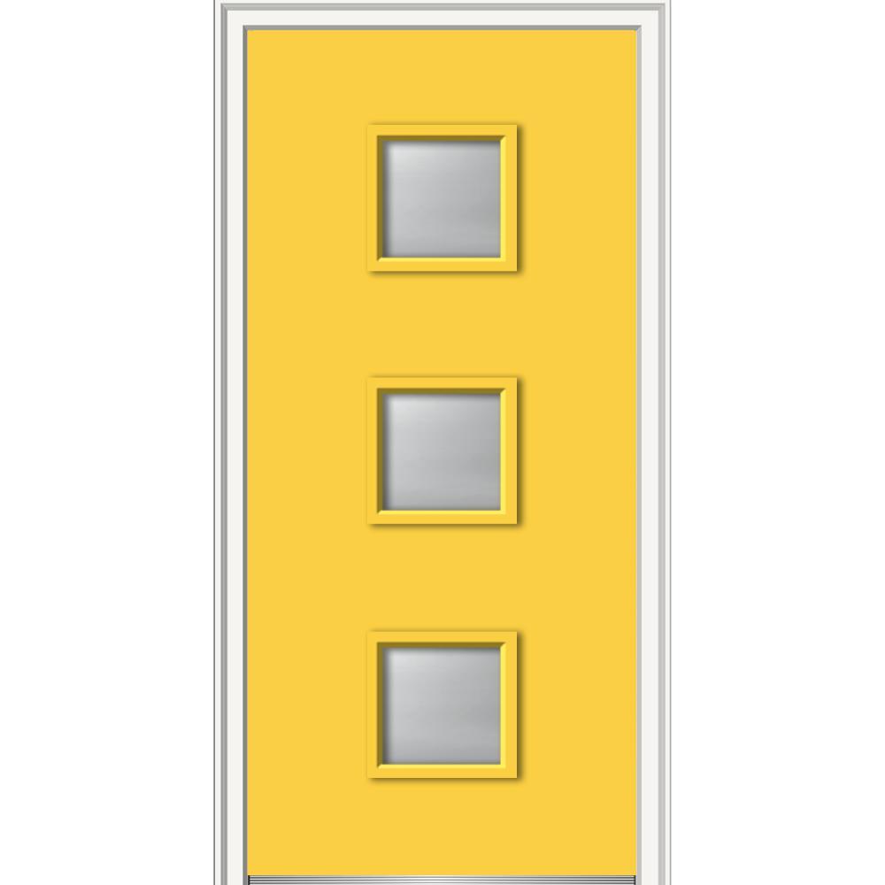 MMI Door 32 in. x 80 in. Aveline Low-E Glass Left-Hand Inswing 3-Lite Clear Painted Steel Prehung Front Door