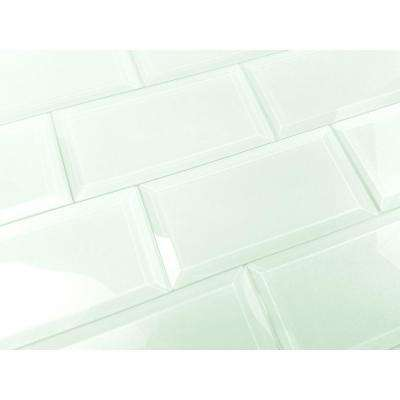 Subway 3 in. x 6 in. Rectangle Green Beveled Glossy Glass Peel and Stick Decorative Bathroom Wall Tile Backsplash Sample