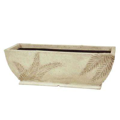 22 in. x 8-1/2 in. Cast Stone Rectangular Fern Planter in Limestone