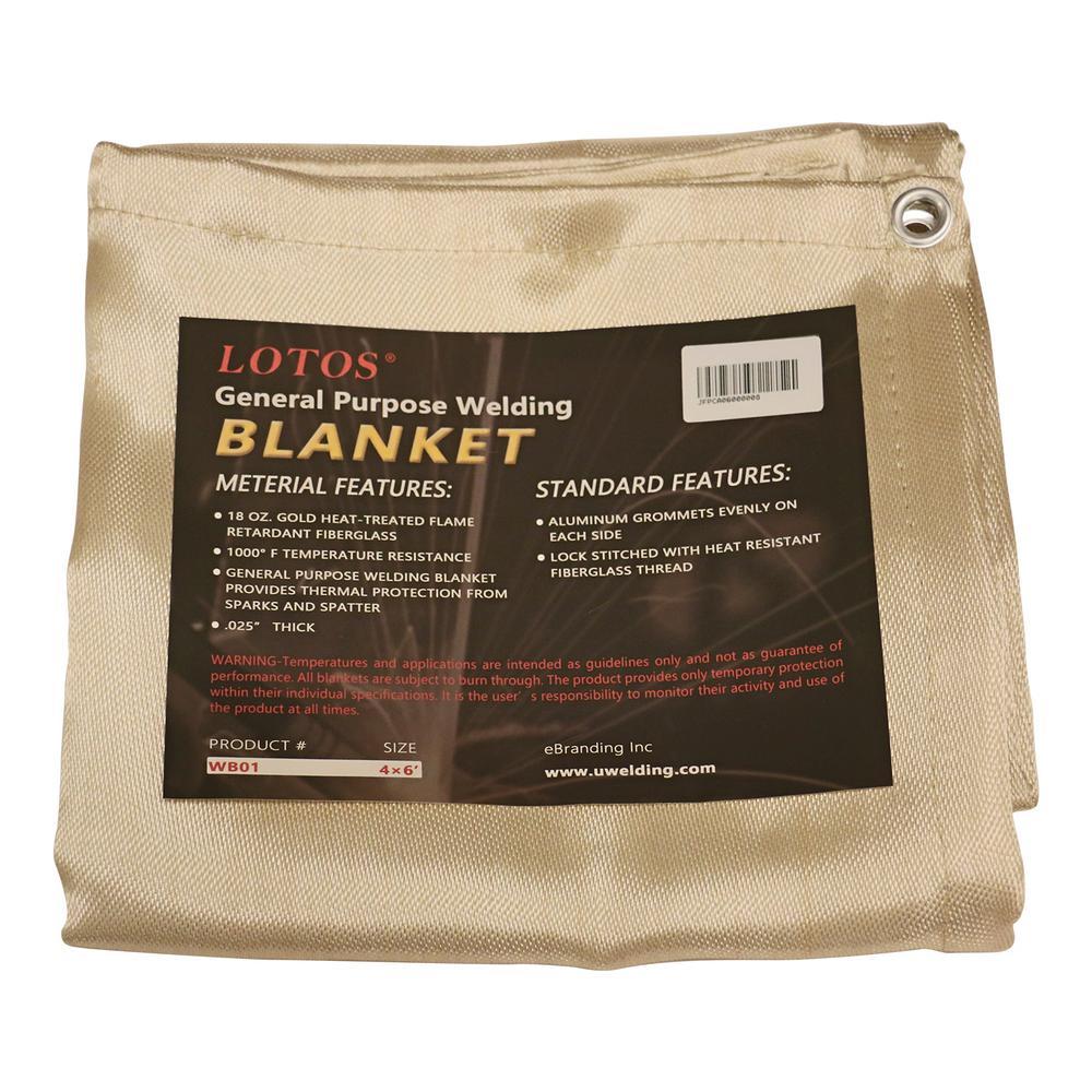34a3d31d989a Lotos Welding Blanket 4 ft. x 6 ft. Gold Fiberglass Heat Treated ...