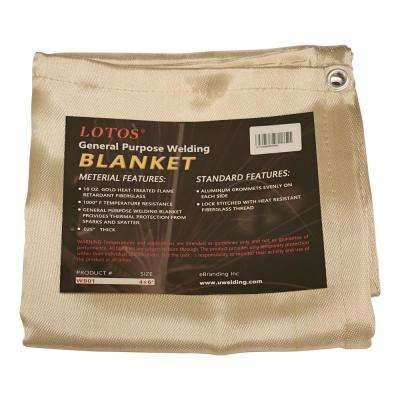 Welding Blanket 4 ft. x 6 ft. Gold Fiberglass Heat Treated Resists 1000°F