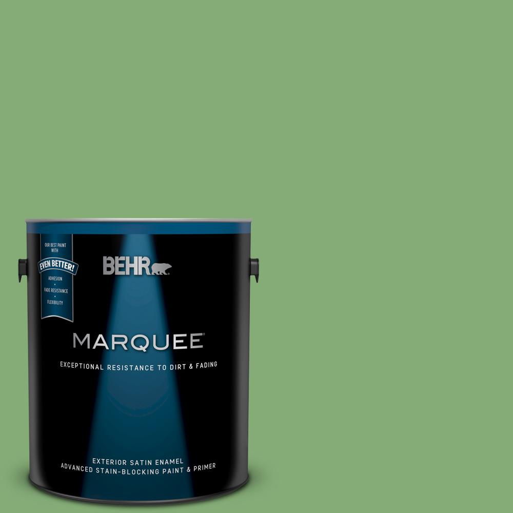 Behr Marquee 1 Gal 440d 5 Pesto Satin Enamel Exterior Paint And Primer In One 945301 The Home Depot