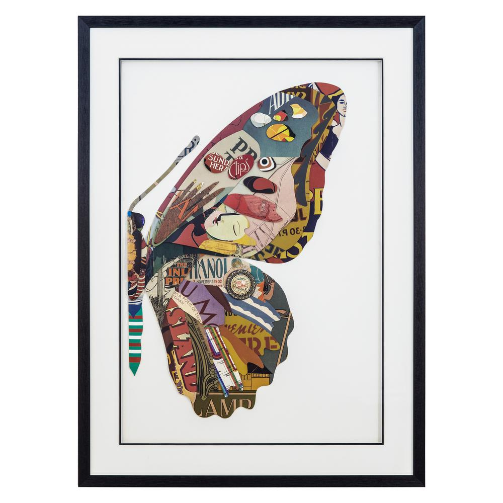 Yosemite Home Decor Monarch's Kiss II Framed Wall Art, Coral/Olive/blue was $244.0 now $151.33 (38.0% off)